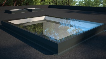 Flat Rooflight 1000 x 1000 PPC Black